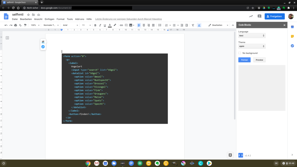 An HTML file with syntax highlighting in Google Docs on Chrome OS
