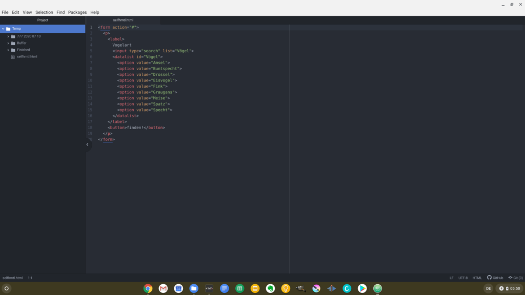An HTML file with syntax highlighting in Atom on Chrome OS