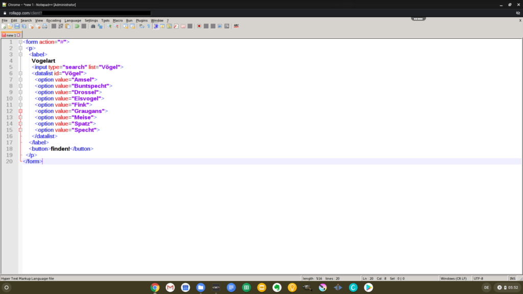 An HTML file with syntax highlighting in Notepad++ via rollApp on Chrome OS