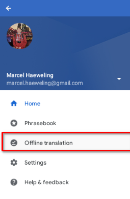 Opening the offline translation configuration in the Google translate app on Chrome OS