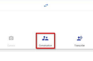 Starting a conversation in the Google translate app on Chrome OS