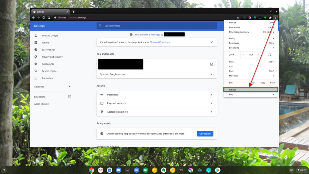 Calling up the Google Chrome settings on Chrome OS