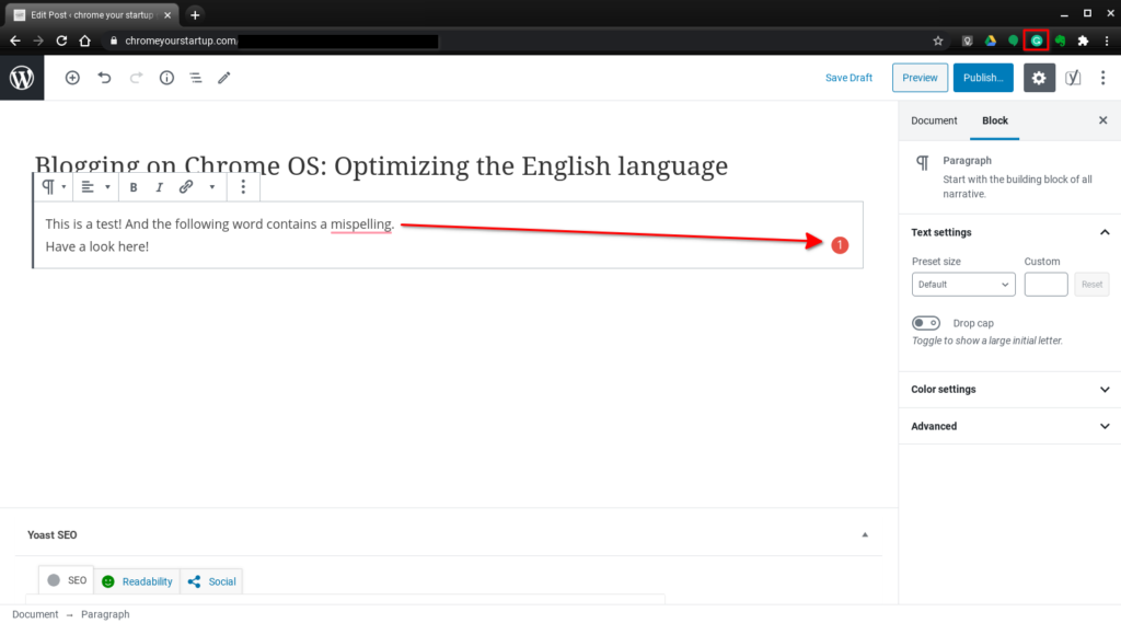 Using Grammarly's English spell check when blogging in Chrome on Chrome OS
