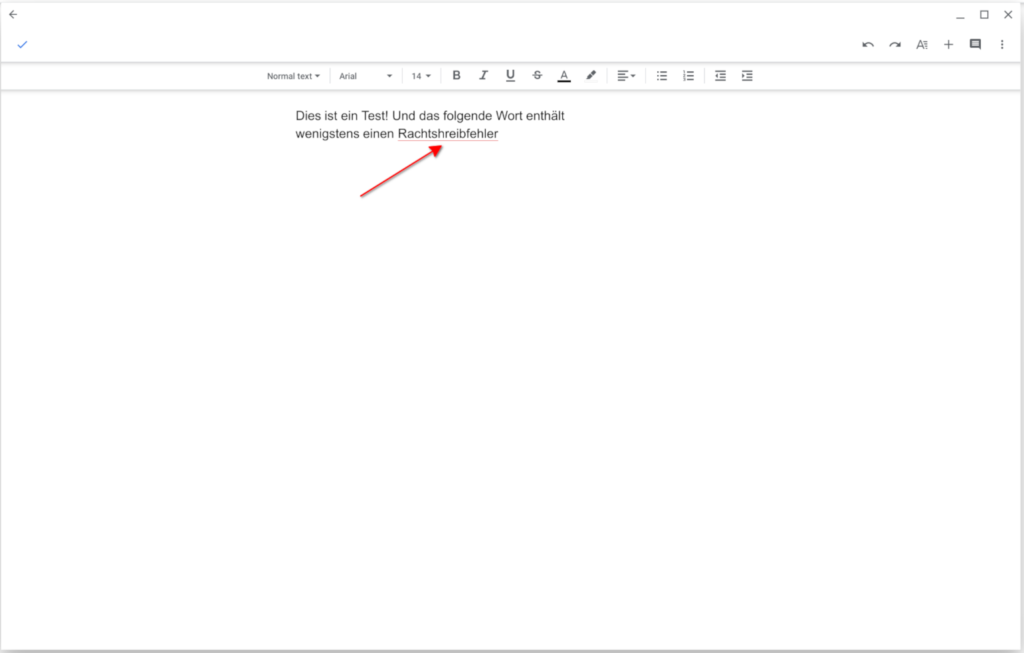 The spell check of Google Docs