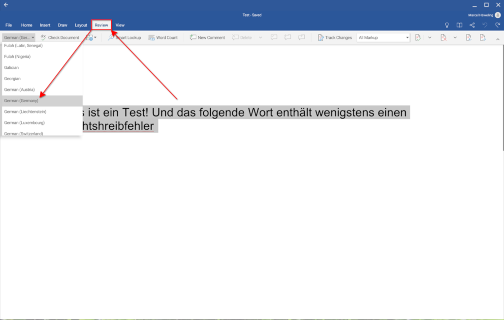 Preparing the spell-check of Microsoft Word